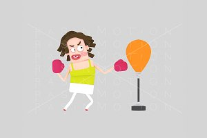 3d illustration. Woman boxing.