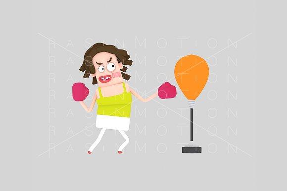 3d illustration. Woman boxing. - Illustrations