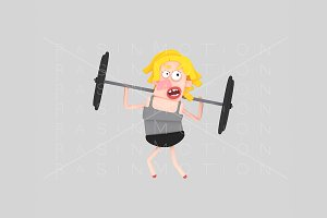 3d illustration.Weightlifting Woman.