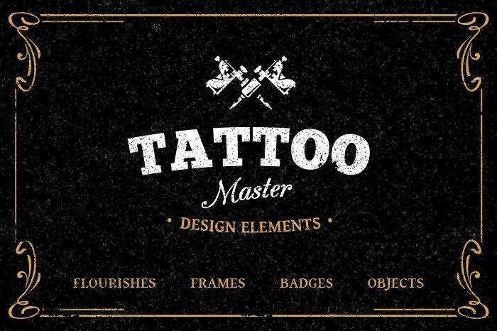 Tattoo Master Design Elements Illustrations Creative Market