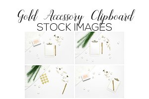 Gold Accessory Clipboard Flatlays