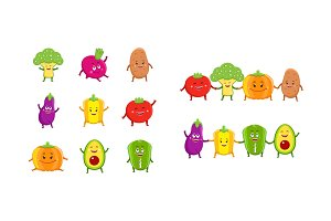 Funny vegetables characters set