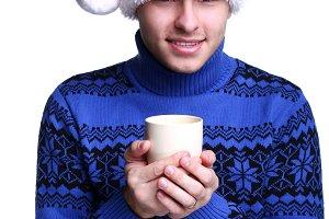 man in red santa's hat