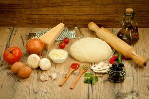 Ingredients for preparing pizza