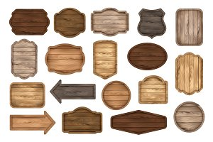 Wooden signs, boards, labels, badges