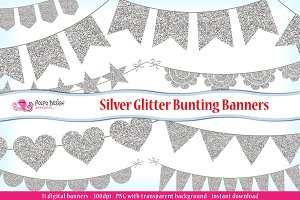 Silver Glitter Bunting Banners