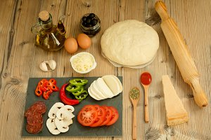 Ingredients for a pizza