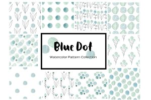 Blue Dot Watercolor Patterns