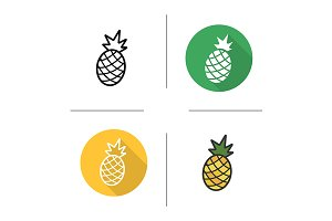 Pineapple. 4 icons. Vector