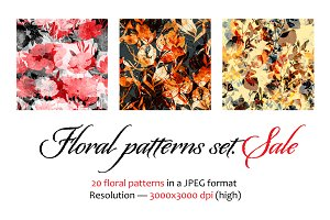 Floral seamless patterns set. Sale