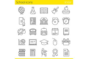 School. 25 icons set. Vector