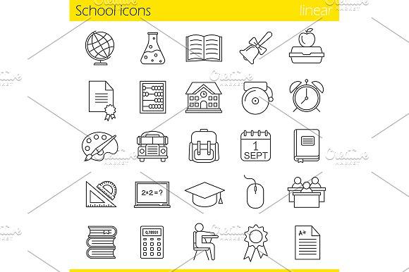School. 25 icons set. Vector - Icons