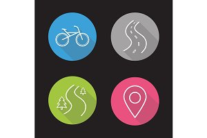 Bike riding. 4 icons. Vector
