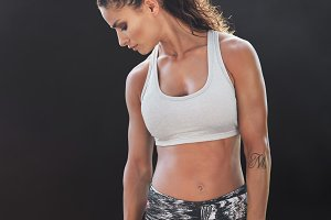 Strong and muscular woman