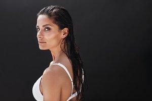 Fitness model standing