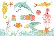 Sweet Sealife VECTOR Clip Art Set