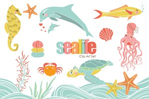 Sweet Sealife VECTOR Clip Art Set