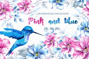 Pink and blue. Watercolor collection