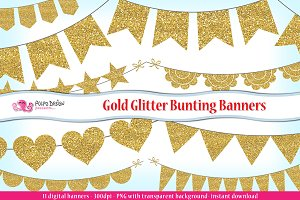 Gold Glitter Bunting Banners clipart