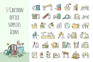 Cartoon stationery icons with People