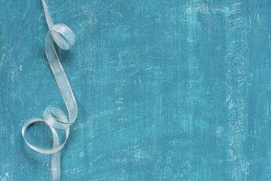 Blue background with ribbon