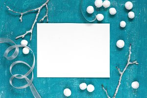 Blue winter background with decor