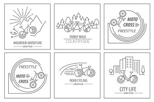 Bicycle logo template set
