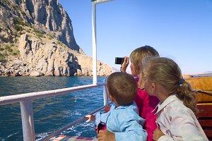 Family near summer sea