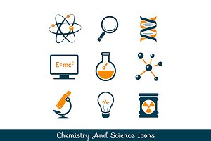 Chemistry and science icons set