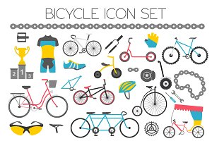 Bicycle icon set + seamless pattern