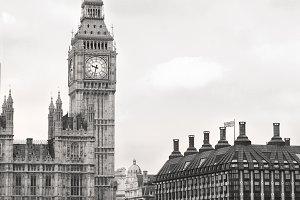 London. Big Ben. Thames. Portrait.