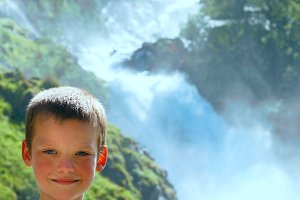 Children near Norway waterfall