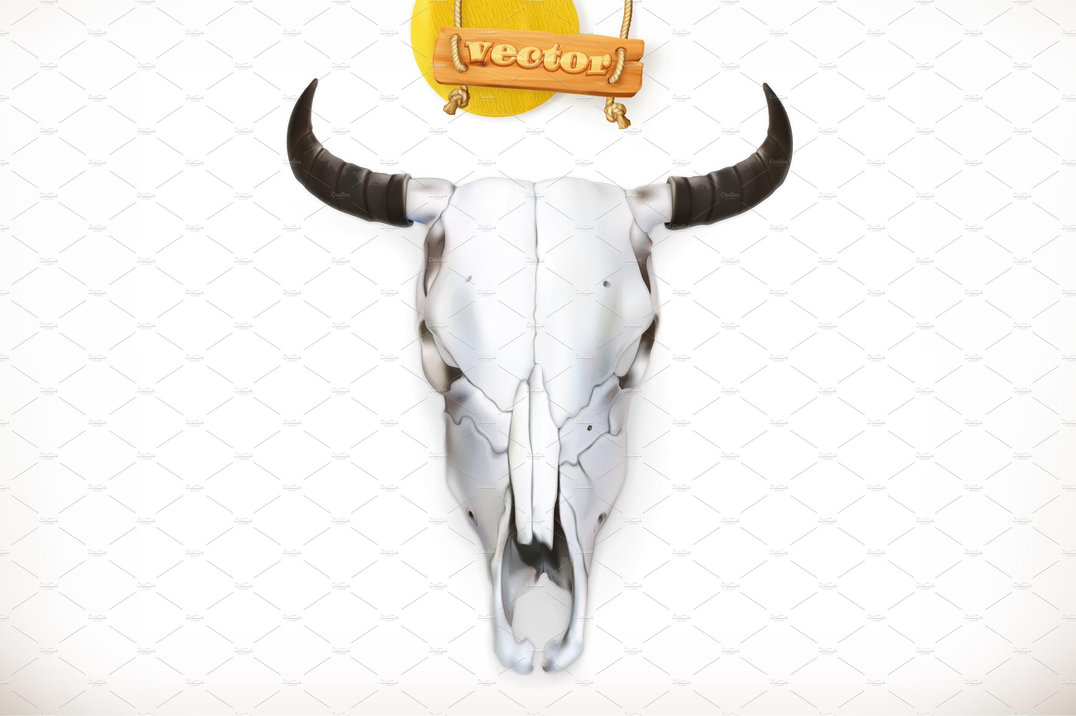 Cow skull. 3d vector icon ~ Illustrations ~ Creative Market