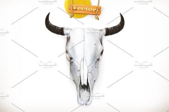 Cow skull. 3d vector icon - Illustrations