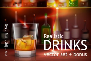 Alcohol Drinks Realistic Set