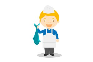 Fishmonger vector illustration