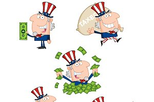 Uncle Sam Cartoon Style. Collection
