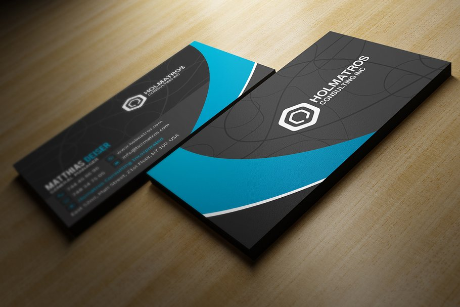 Modern Grey Business Card in Business Card Templates - product preview 1