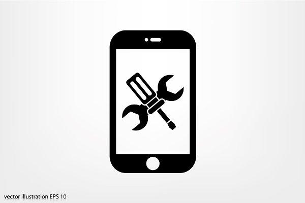 Phone service icon vector