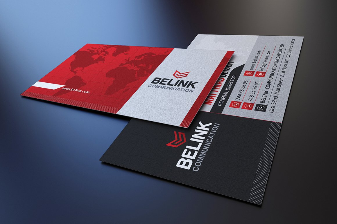 Red Corporate Business Card ~ Business Card Templates ~ Creative ...