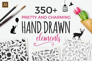 350+ Hand drawn elements