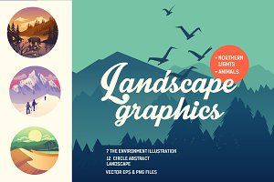Collection vector graphics outdoor