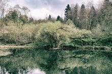 October in Russia: autumn river and forest