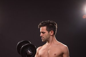 man fitness shirtless nude weights