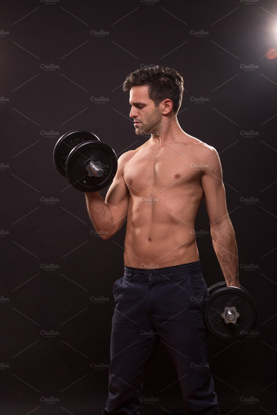 man fitness shirtless nude weights - People
