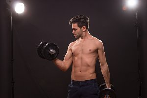 man fitness shirtless abs weights