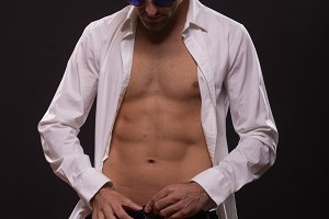 man dressing pants shirt abs fit sli