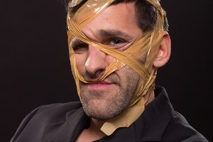 head face wrapped duct tape crazy