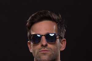 confident man sunglasses posing