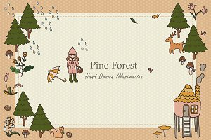 Pine Forest Hand Drawn Collection